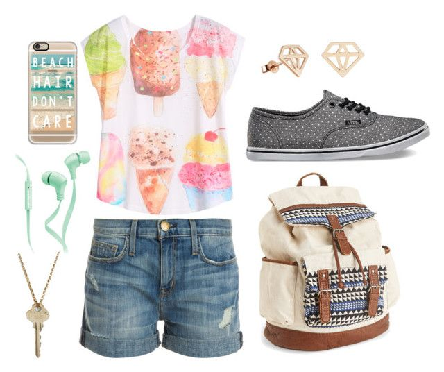 """""""School"""" by camigy on Polyvore featuring Current/Elliott, Vans, Aéropostale, Casetify, Merkury Innovations and The Giving Keys"""