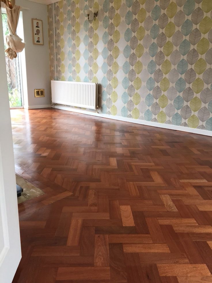 Mahogany parquet floor, sanded and lacquered