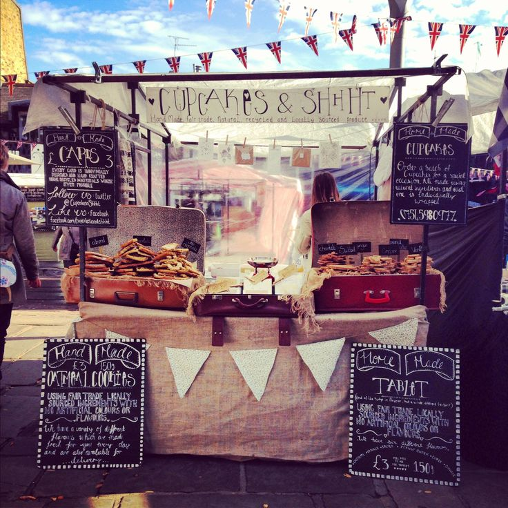 Love this look, hessian, blackboards, typography, suitcases: Cupcakes & Shhht - market stall, Camden lock