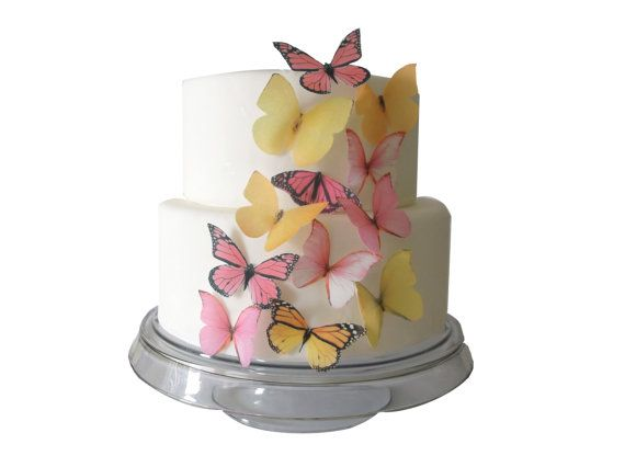 12 Edible Butterflies  Yellow and Pink  by incrEDIBLEtoppers on etsy.