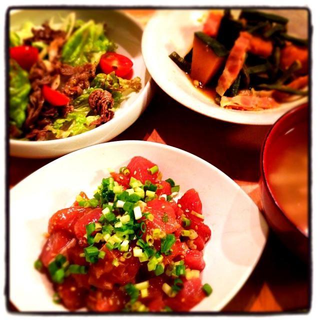 ベトナム風ビーフサラダ かぼちゃ、いんげんの煮物 千切り山芋の梅スープ  マグロのユッケ子どもには不評(´Д` ) - 41件のもぐもぐ - マグロユッケ by ayubo