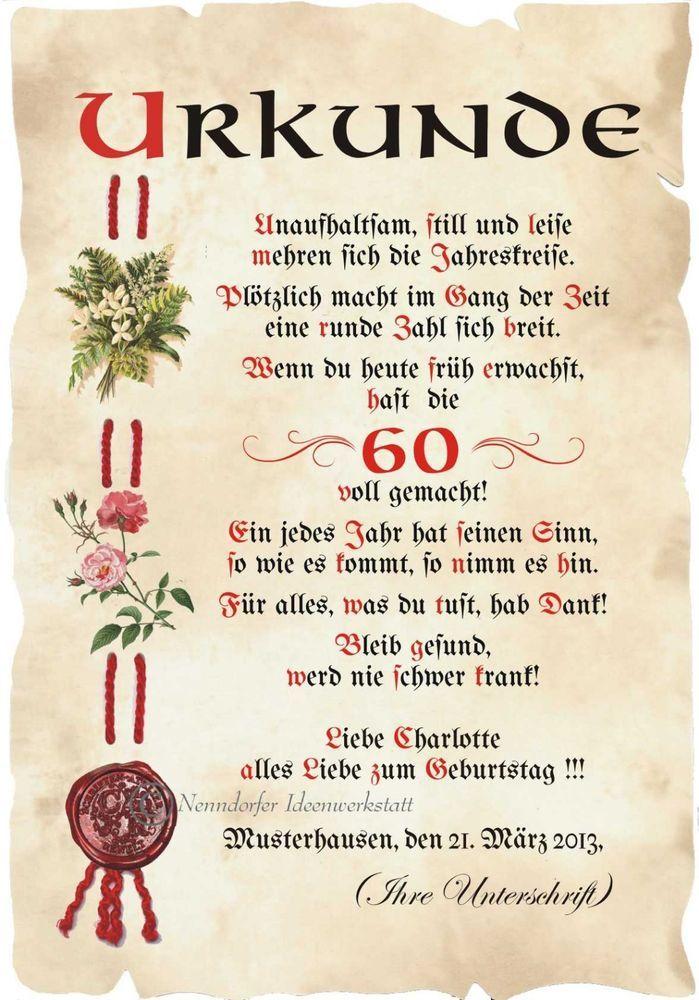 Urkunde 60 Geburtstag Din A3 G2 Sammeln Seltenes Saisonales