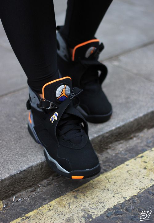 Air Jordan Retro 8 Womens White Black Orange shoes
