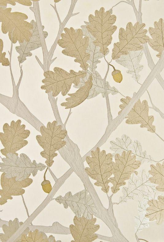 Feuille de Chene Wallpaper - Ivory wallpaper with metallic silver oak tree and gold acorns.