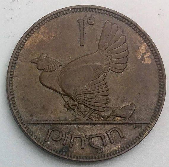 1928 Irish Penny Ireland Hen Chicks Harp Large Bronze Coin