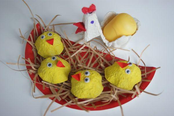 kurczątka/ ptaszki w gniazdku: opakowanie po jajkach, papierowy talerzyk  chickens/  birds in the nest: pack of eggs, paper plate, kids craft
