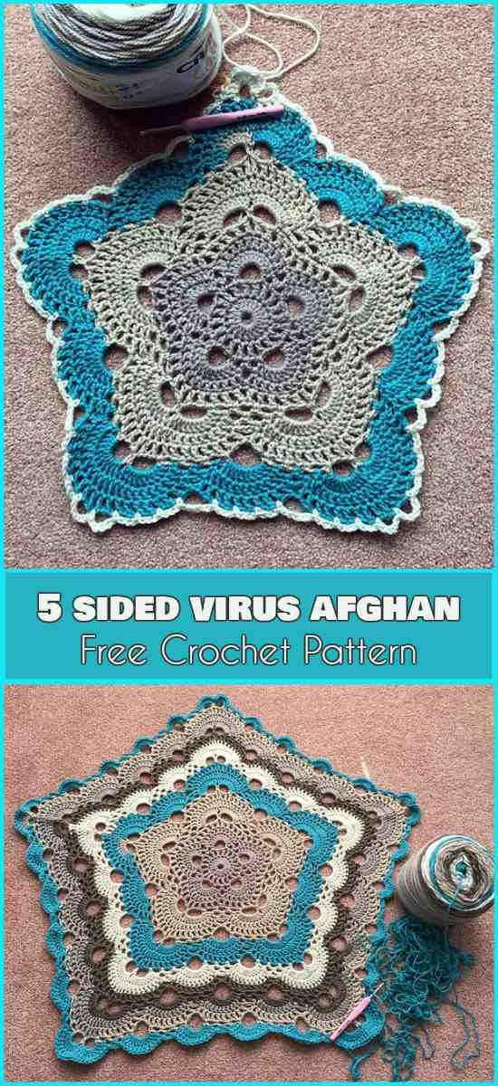 5 Sided Crochet Virus [Free Afghan Pattern]