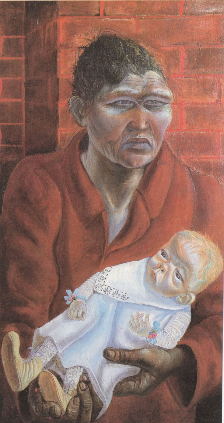 Otto Dix, Mutter and Kind (Mother and child). 1923, Oil on wood. This painting was banned by the Nazi regime and exhibited at the Degenerate art exhibition in Munich in 1937.