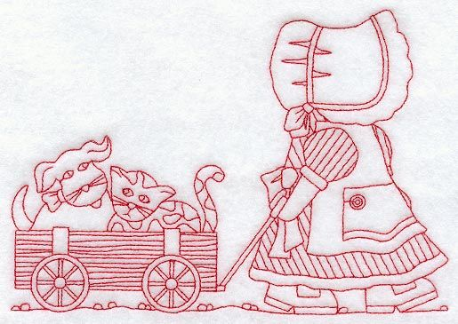 Sunbonnet Sue and Wagon (Redwork)