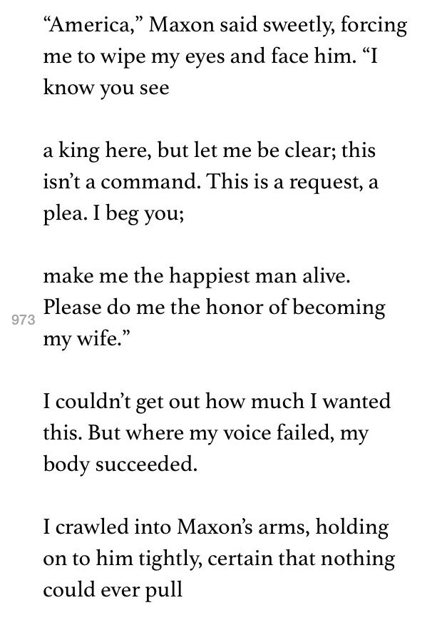 The One by Kiera Cass. Maxon's proposal to America