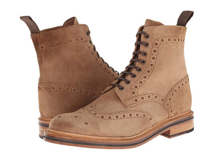 Grenson Men's Tan Suede Brogue Boots