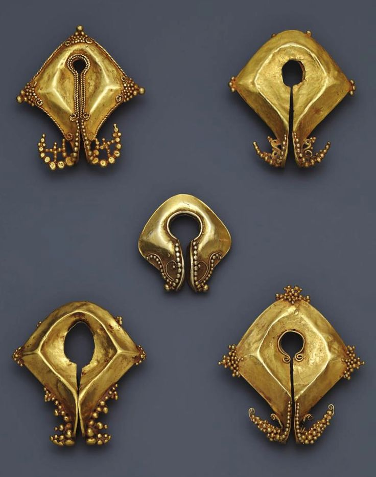 Indonesia ~ East Sumba | Granulated earrings or pendants (mamuli); gold | 18th - 19th century || Source: 'Gold Jewellery of the Indonesian Archipelago', page 132