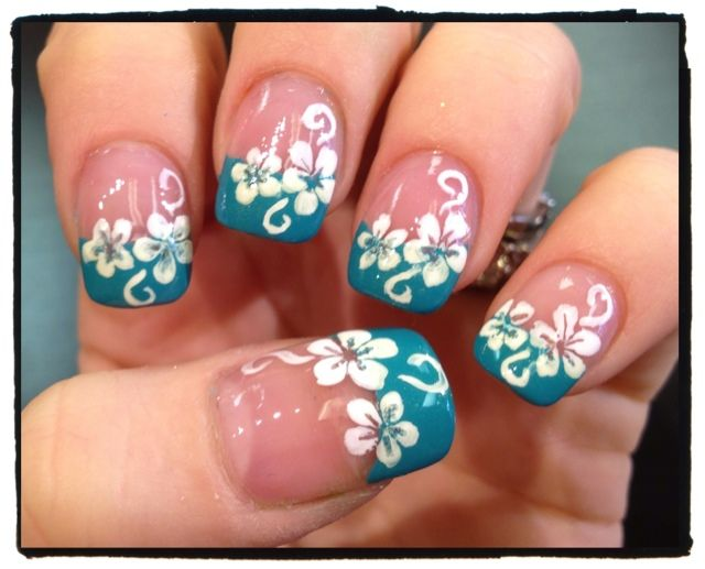 Hawaiian flower nails with French tip. - Best 20+ Hibiscus Nail Art Ideas On Pinterest Tropical Flower