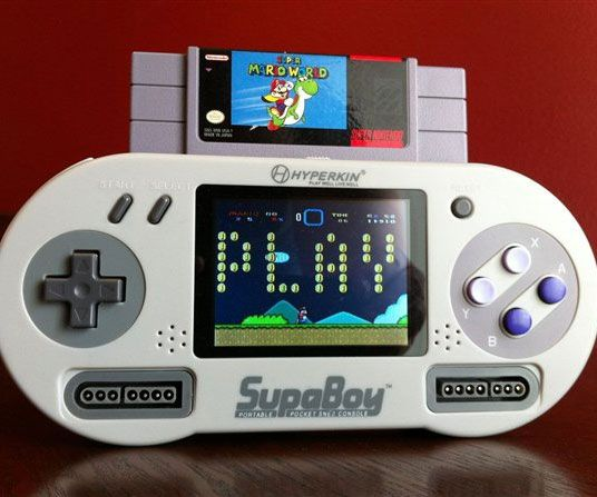 Replay all the classic games of your childhood with this convenient handheld Super Nintendo player! Ditching the big bulky design, this console is shaped like...