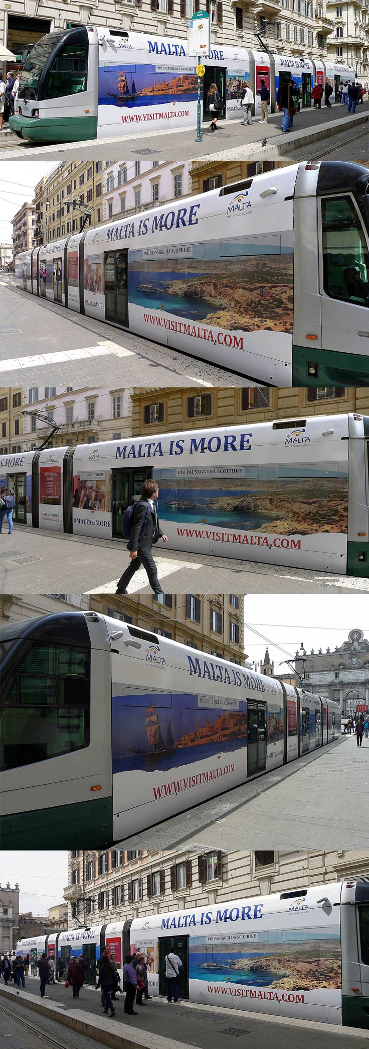 Malta outdoor advertising around Italy using the trams and buses of principal towns and cities - Roma, Bologne, Milano, Torino and Bari.