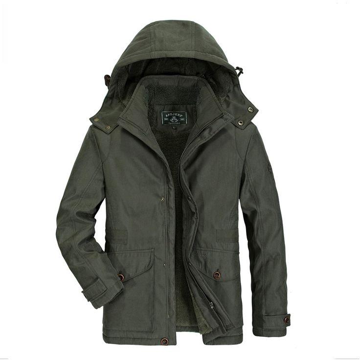 2016 Military parka men AFS JEEP jacket men high quality warm thick fur parka jacket men green khaki blue color mens winter park