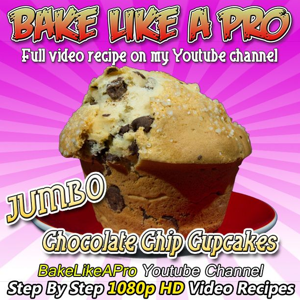 Direct Link to my recipe: http://youtu.be/qvyQNuwGe9c  JUMBO Chocolate Chip Muffins Recipe Please SUBSCRIBE: http://bit.ly/1ucapVH  I'll show you how easy it is to make delicious, moist jumbo chocolate chip cupcakes like you see in your local bakeries.    My Facebook Page: http://www.facebook.com/BakeLikeAPro http://instagram.com/bakelikeapro Pinterest: Pin this recipe:http://bit.ly/UnuDB7  Please subscribe, like and share if you can, I do appreciate it. http://bit.ly/1ucapVH  #recipe…