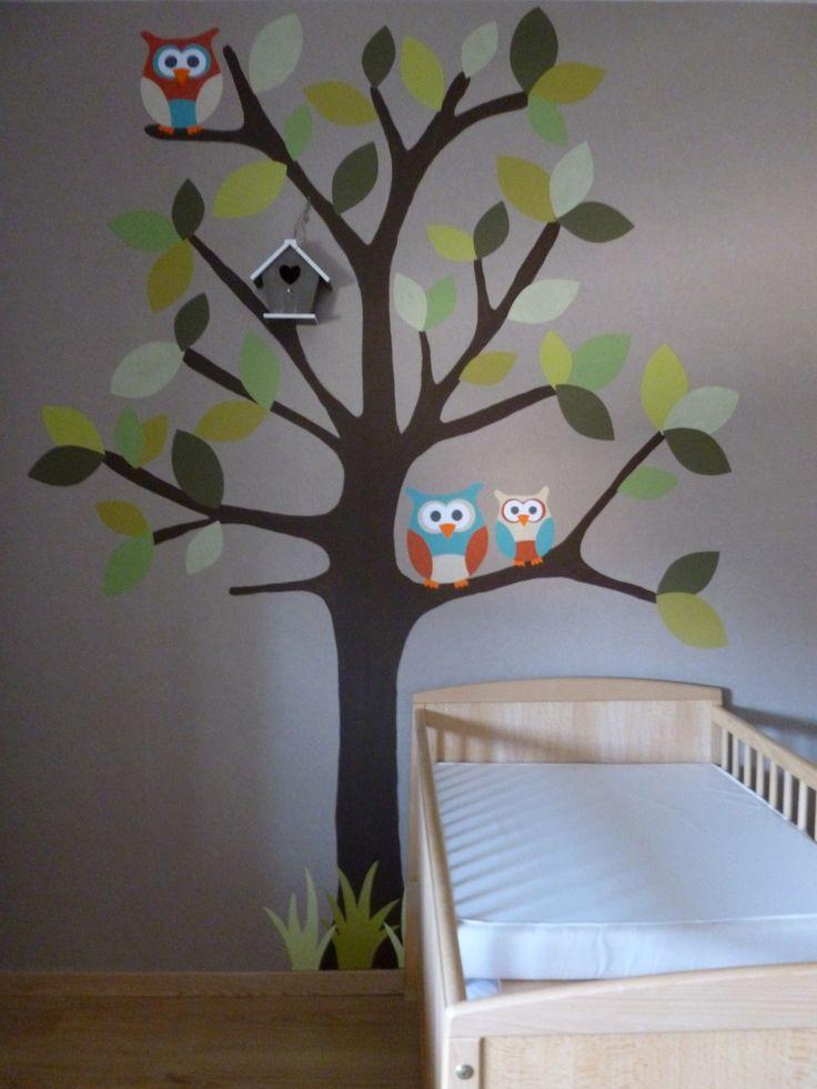 Zelfontworpen en gemaakte decoratie voor de babykamer: boom met uiltjes.