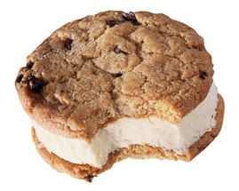 Velvety vanilla ice cream is sandwiched between the home-baked ...
