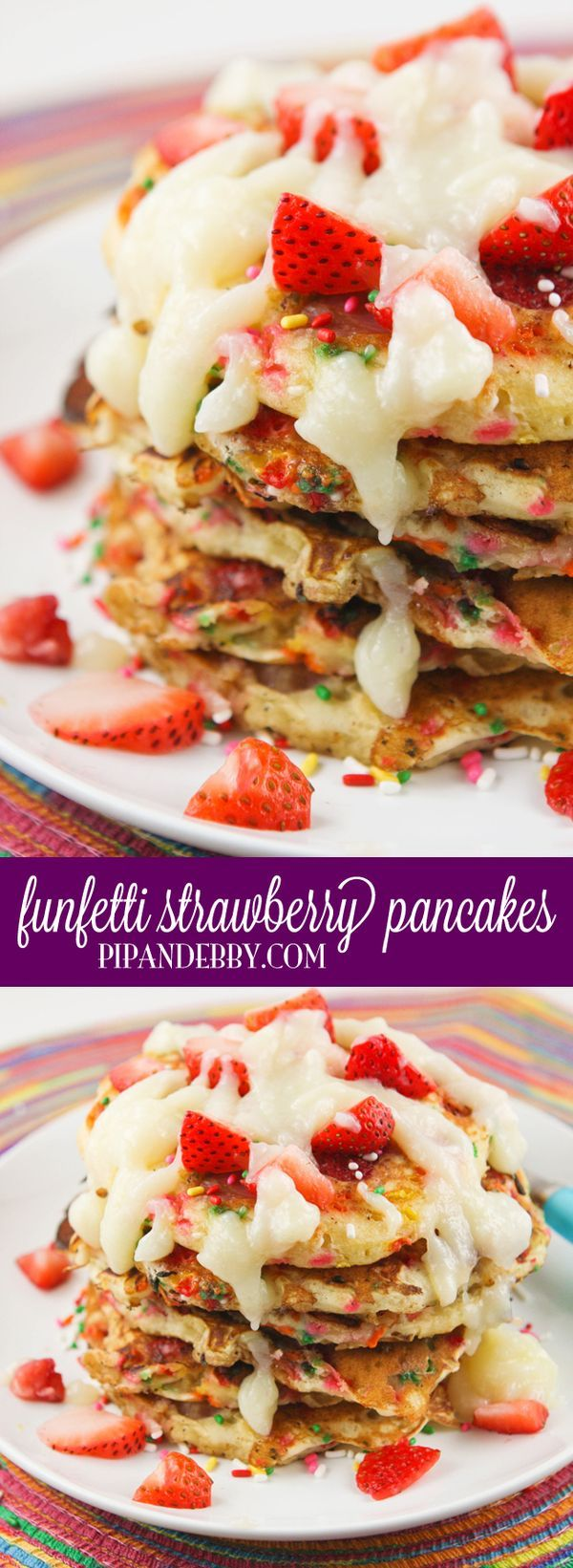 Funfetti Strawberry Pancakes | Alternate title: Happy Pancakes! They are fun, colorful and tasty! Kids LOVE 'em!