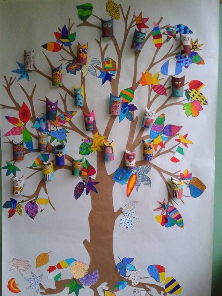 A ideia da Irene Botturi é criar uma árvore com corujas de rolinhos de papel