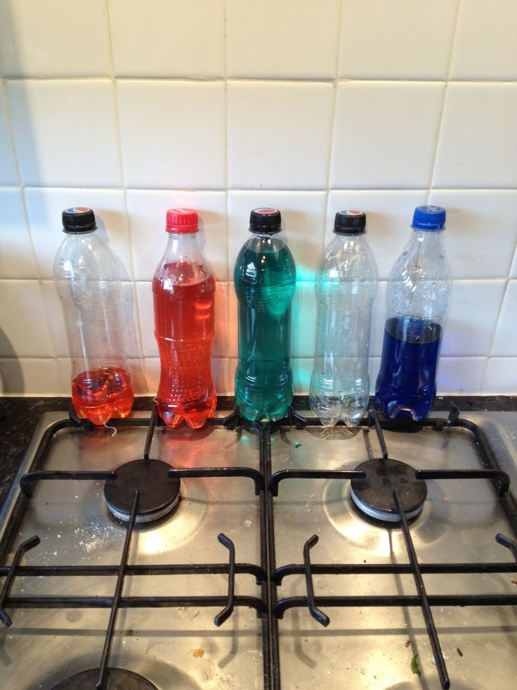 Bottles filled with coloured water for direct comparison and ordering (eyfs and level 1) numeracy