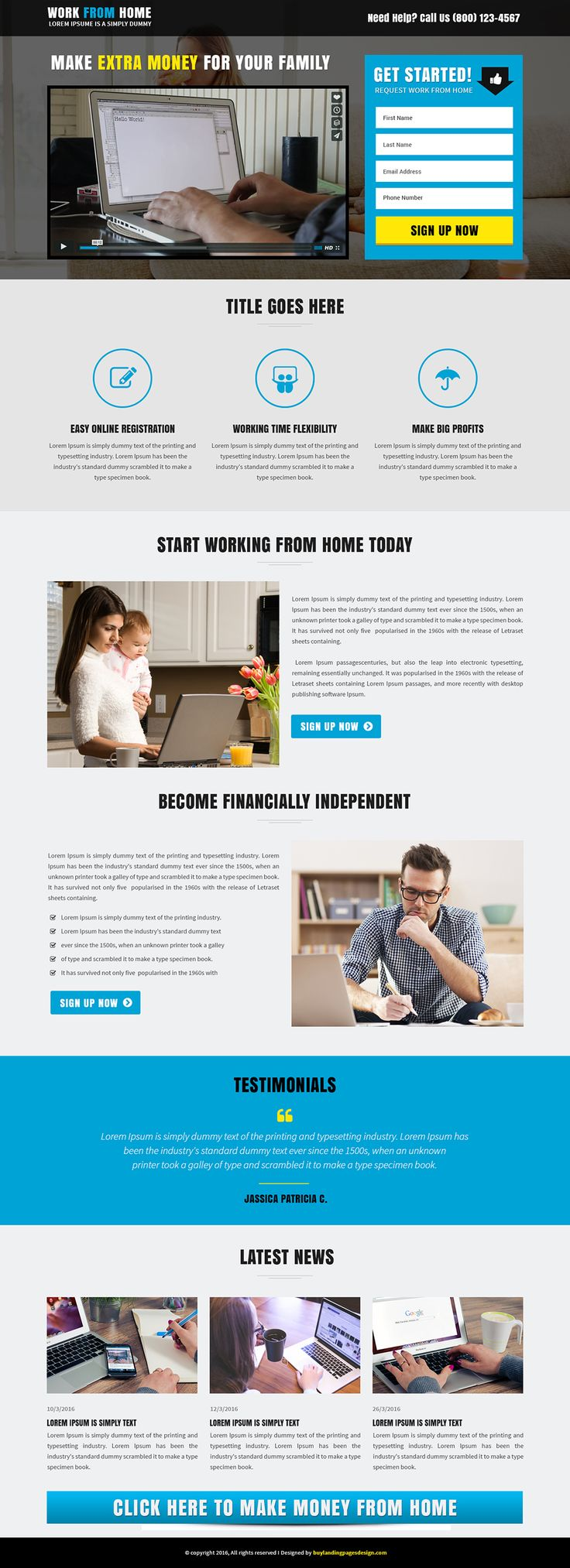 Responsive landing page template work from home landing - Online design jobs work from home ...