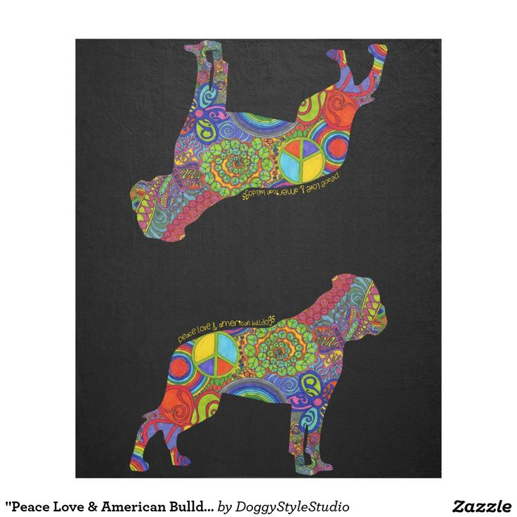"""""""Peace Love & American Bulldogs"""" Pop Art Blanket Fleece Blanket"""