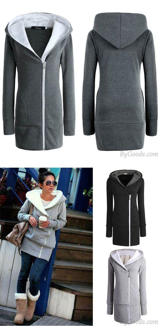 Fashion Women's Winter Long Zipper Warm Hoodie Coat Slim Coat Outwear Jacket Thicken Cotton-padded Jacket Coat for big sale! #coat #Jacket #thicken #slim