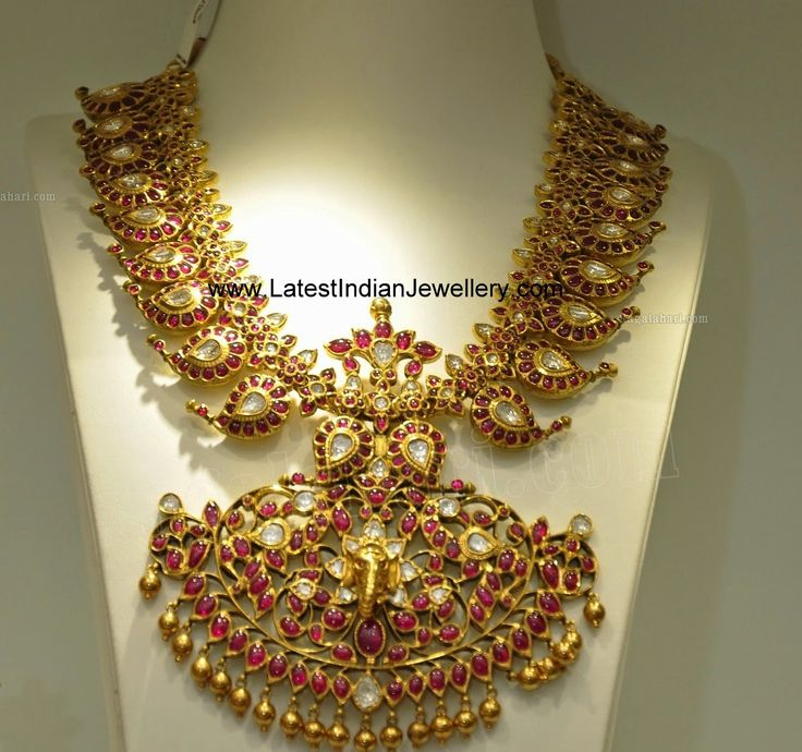 Latest Indian Jewellery Designs 2015: Grand Bridal Ruby Mango Mala