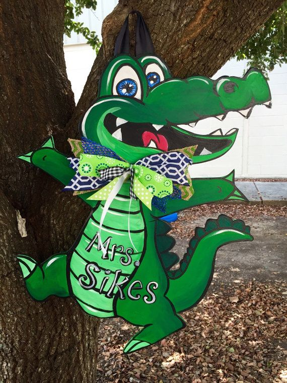 Mr Alligator Door Hanger By Paintingboutiquellc On Etsy
