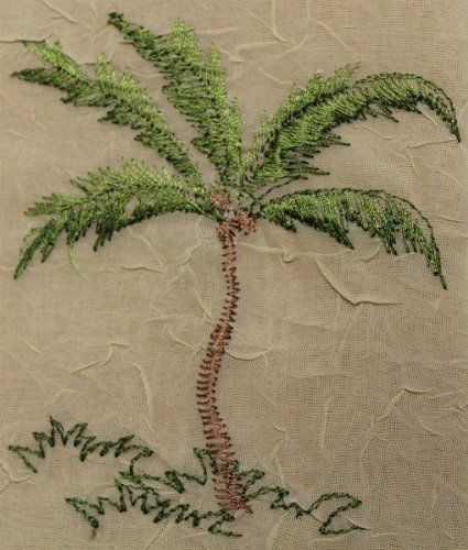 """Fine Embroidered Tablecloth 60""""x84"""" - Palm Tree Dark Beige #Everydayspecial"""
