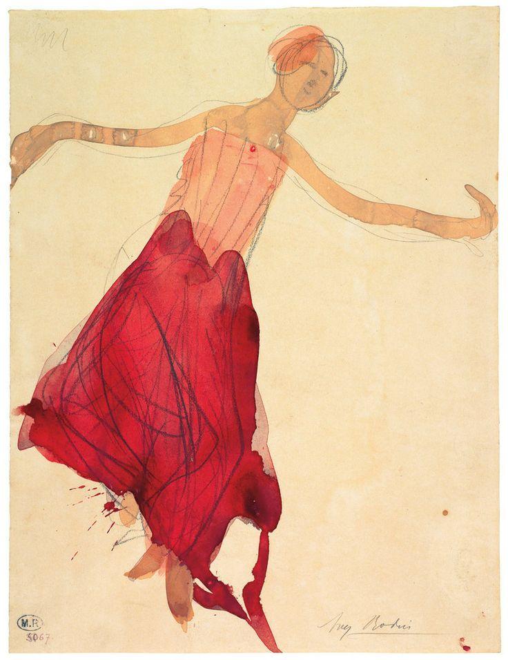 ¤ Auguste Rodin  Danseuse cambodgienne, 1906 (D. 5067). Crayon au graphite (trait), aquarelle et gouache sur papier vélin.  Signé au crayon au graphite, en bas à droite. H. 32,5 cm ; L. 24,6 cm © Musée Rodin, Paris 2011