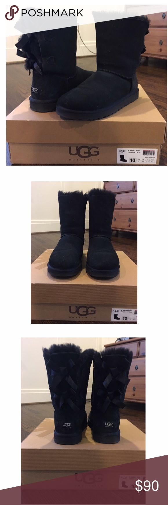 UGG Bailey Bow Boot Black UGG Bailey Bow boot.  Short black boot with three bows in back. EUC. UGG Shoes Winter & Rain Boots