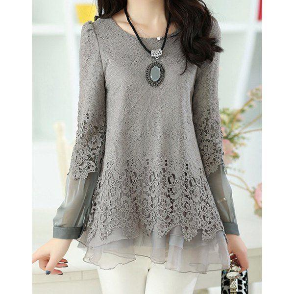 Solid Color Long Sleeve Round Collar Skirt Hem Lace Embellished T-shirt