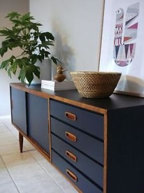 'upcycled' teak sideboard -- love the paint job with wood and paint