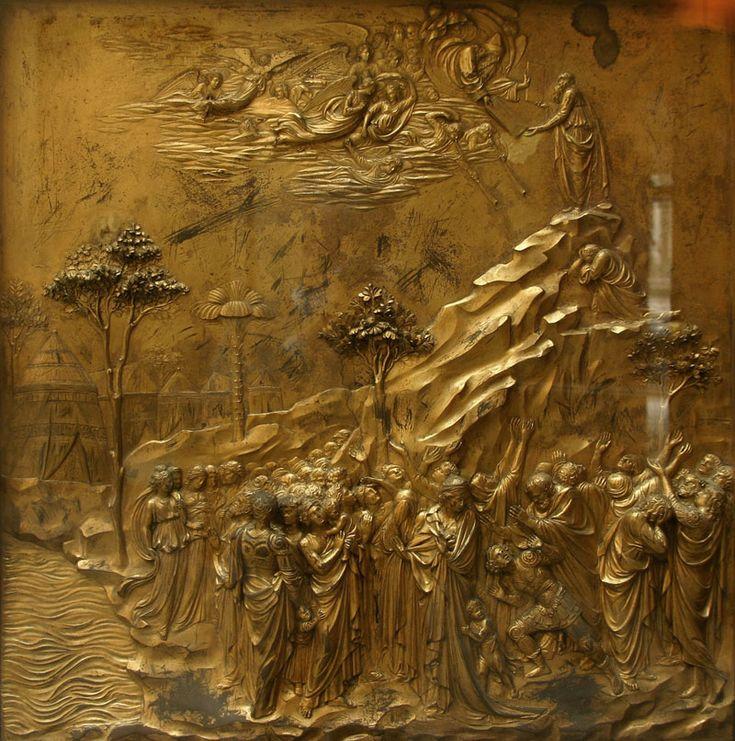 A história de Moisés. 1425-1452. Painel de bronze. Lorenzo Ghiberti (Florença, Itália, 1378 - 01/12/1455, Florença, Itália). Painel da 'Porta do Paraíso' situado no Batistério de São João na Praça do Duomo em Florença, região da Toscana, Itália. Encontra-se hoje no Museu da Ópera do Duomo em Florença.