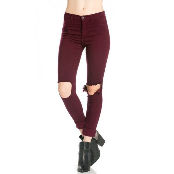 High Waisted Ripped Knee Skinny Jeans in Burgundy ($40) ❤ liked on Polyvore featuring jeans, high waisted jeans, white high waisted jeans, high waisted ripped jeans, high rise skinny jeans and high waisted white skinny jeans