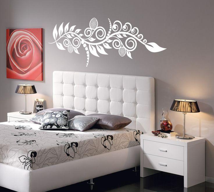 Vinilo decorativo de cabecero de cama motivo floral 2