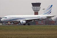 Avion Express Airbus A319-112 LY-VEU aircraft, skating at France Lille (Lesquin) Airport. 05/01/2013.