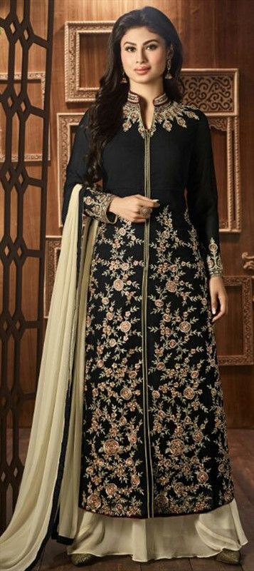 471358 Black and Grey  color family Party Wear Salwar Kameez in Faux Georgette fabric with Machine Embroidery, Resham, Thread work .