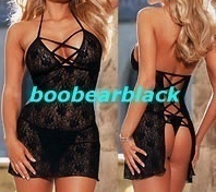 BLACK STRETCH LACE BABYDOLL & G-STRING  $14.95  boobearblack.com
