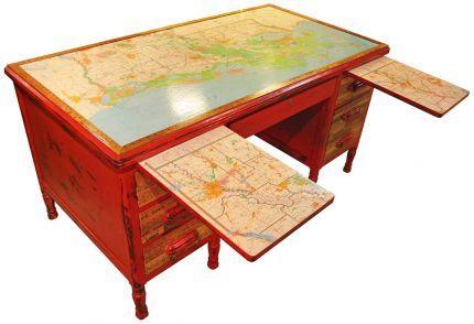 ...and old maps, old desks...Louisiana Map & Vintage Yardstick Writing Desk - JUNKMARKET Style