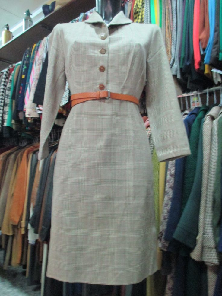 Abito anni 50 in tweed/Scozzese/Plaid dress of the 50's di FermataDautobus su Etsy