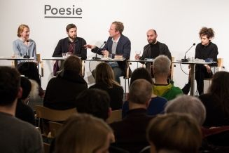 Die besten Lyrikdebüts 2016 am 23.2.2017 - Anja Kampmann, Alexandru Bulucz, Tobias Lehmkuhl und Kinga Tóth (c) gezett