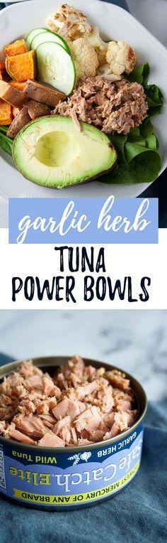 Garlic Herb Tuna Power Bowls | ad, Safe Catch, wild tuna, canned, recip, easy, healthy, gluten free, paleo, avocado | hungrybynature.com