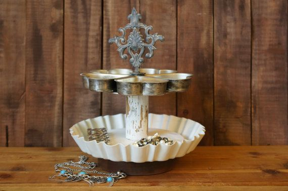 Upcycled Wood Rolling Pin Tiered Jewelry by FestiveHomeDesigns, $48.00