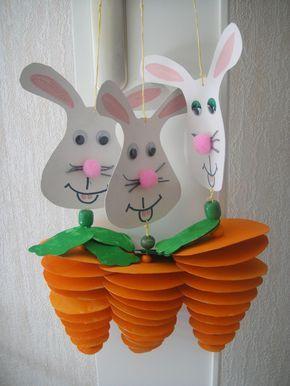 Hanging Easter bunny decoration. Great craft for older kids.