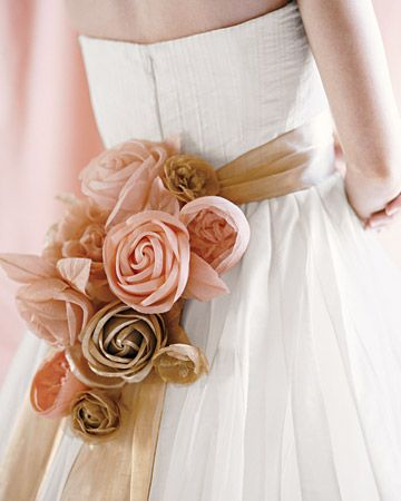 Pink and gold sash with fabric millinery roses