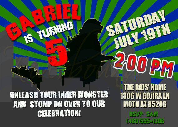 Printable Godzilla Birthday Invitation Monster Invitation